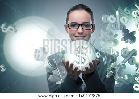 Businesswoman in american dollar concept