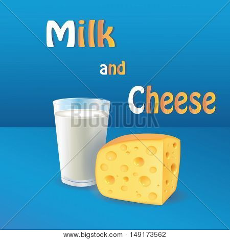 Milk and cheese. Vector realistic 3D product