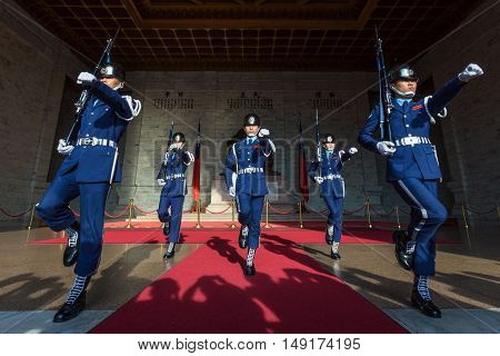 TAIPEI, TAIWAN - JUNE 16, 2016: The changing of the guards ceremony at the Chiang Kai-Shek Memorial Hall.