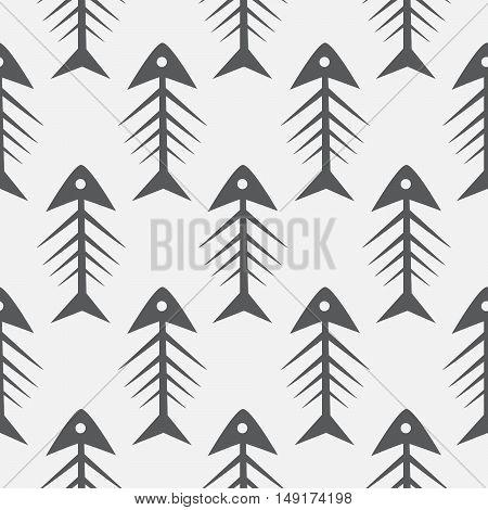 Fish bone monochrome seamless vector pattern. Black and white fishbone textile pattern design.