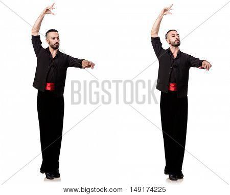 Spanish dancer in various poses on white