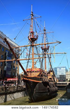 London, UK , September 9, 2012 : The Golden Hinde at St Mary Overie Dock on the River Thames  which is a full sized exact replica of Sir Francis Drake's 16th Century warship