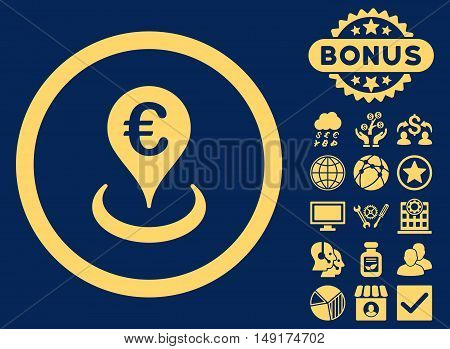 Euro Location icon with bonus pictures. Vector illustration style is flat iconic symbols yellow color blue background.