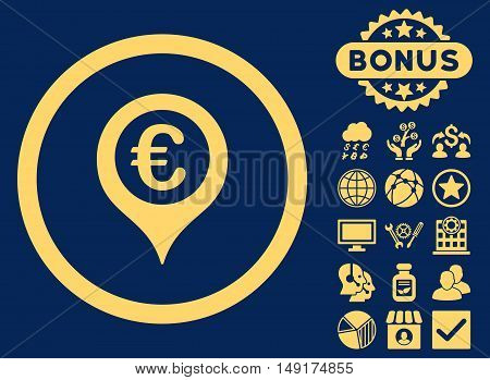 Euro Map Marker icon with bonus pictogram. Vector illustration style is flat iconic symbols yellow color blue background.