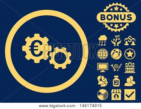 Euro Mechanics icon with bonus images. Vector illustration style is flat iconic symbols yellow color blue background.