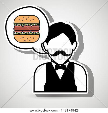 waiter restaurant service order vector illustration eps 10