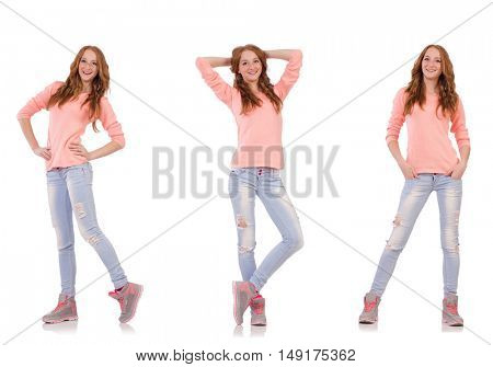 Young woman isolated on the white background