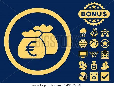 Euro Money Bags icon with bonus pictogram. Vector illustration style is flat iconic symbols yellow color blue background.