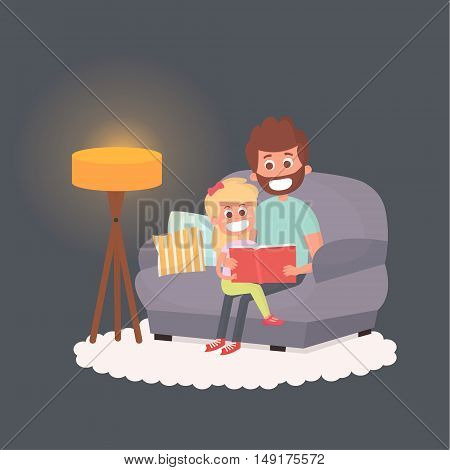 Father read a storybook to his daughter at night. Dad with kid on a couch together. Cute vector illustration of parenthood.