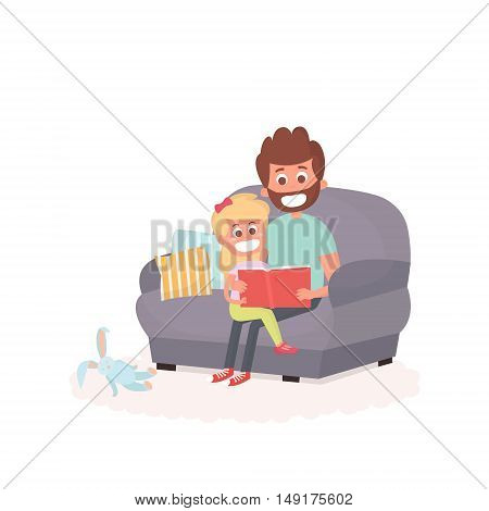 Father read a storybook to his daughter on a couch. Dad with kid on a couch together. Cute vector illustration of parenthood.