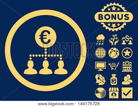 Euro Payment Clients icon with bonus pictures. Vector illustration style is flat iconic symbols yellow color blue background.