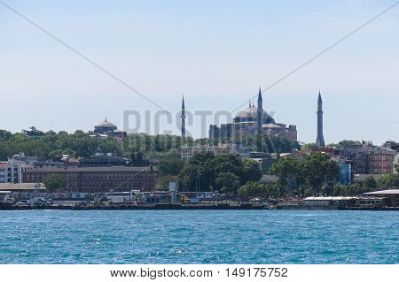 ISTANBUL TURKEY - MAY 20 2026: View of Saint Sophia from the Bosphorus river in Istanbul. More than 32 million tourists visit Turkey each year.