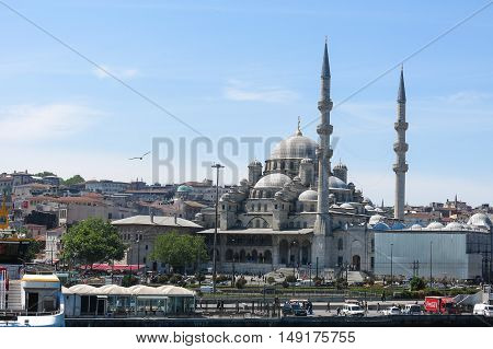 ISTANBUL TURKEY - MAY 20 2026: View of Yuni mosque from the Bosphorus river in Istanbul. More than 32 million tourists visit Turkey each year.