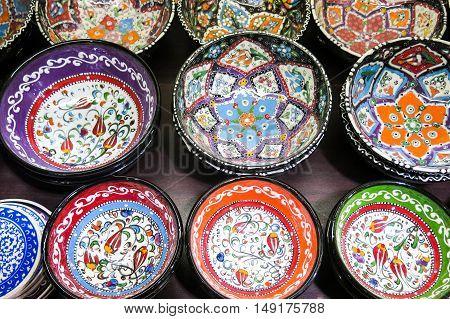 Classical Turkish ceramics on the Istanbul Grand Bazaar. Istambul Turkey