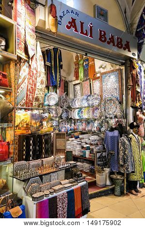 Grand Bazaar In Istanbul With Unidentified People. Turkey