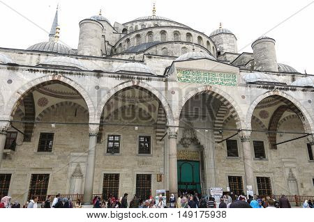 ISTANBUL TURKEY - MAY 22 2016 - Blue Mosque in Sultanahmet in Istanbul Turkey. More than 32 million tourists visit Turkey each year.