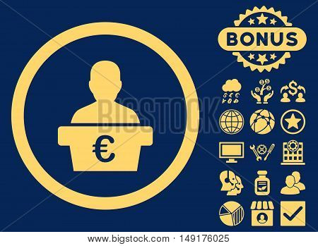 Euro Politician icon with bonus symbols. Vector illustration style is flat iconic symbols yellow color blue background.
