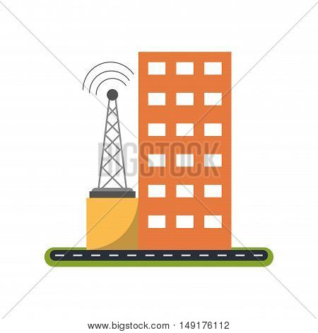 Building with windows and antenna icon. Architecture city and real estate theme. Isolated design. Vector illustration