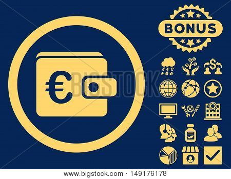 Euro Purse icon with bonus symbols. Vector illustration style is flat iconic symbols yellow color blue background.