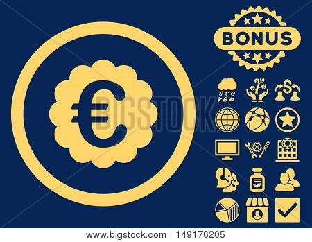 Euro Quality Seal icon with bonus pictogram. Vector illustration style is flat iconic symbols yellow color blue background.