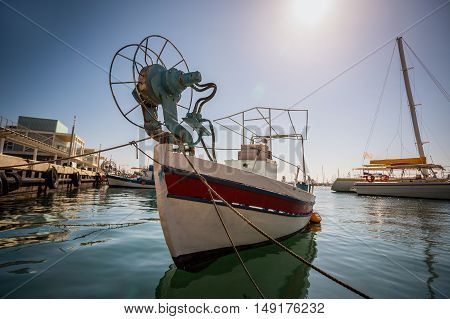 Boat In Old Port Of Limassol, Cyprus