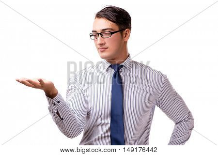 Young handsome businessman pressing buttons isolated on white
