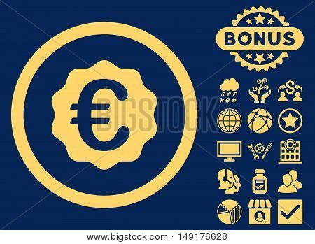 Euro Reward Seal icon with bonus pictures. Vector illustration style is flat iconic symbols yellow color blue background.