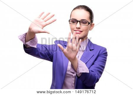 Businesswoman holding hands isolated on white