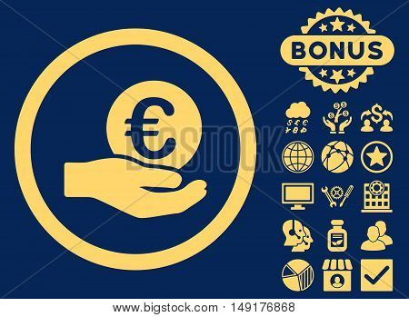 Euro Salary Hand icon with bonus images. Vector illustration style is flat iconic symbols yellow color blue background.