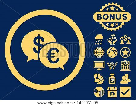 Euro Transactions icon with bonus pictures. Vector illustration style is flat iconic symbols yellow color blue background.