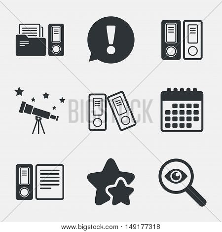 Accounting icons. Document storage in folders sign symbols. Attention, investigate and stars icons. Telescope and calendar signs. Vector