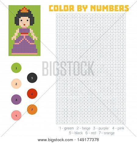 Color by number, education game for children, Princess