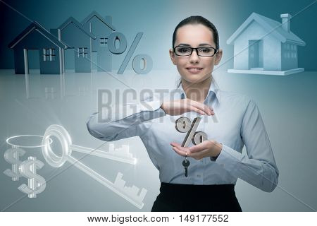 Businesswoman in real estate mortgage concept