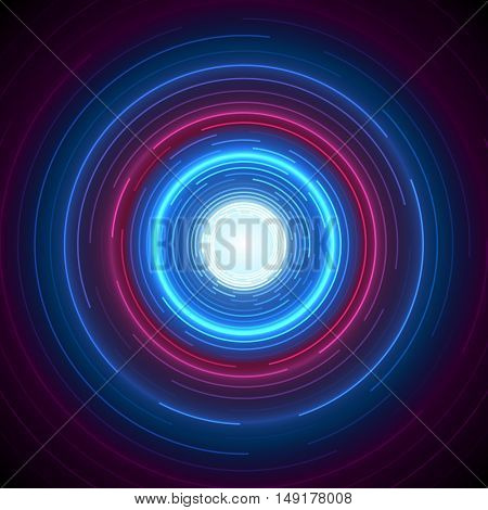 Abstract Blue and Red Round Circle Vector Design Technology Background