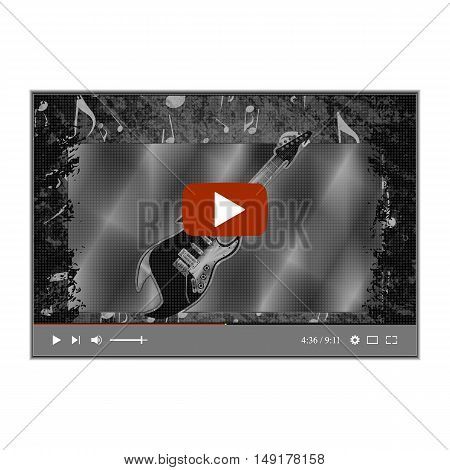 Browser video player with a musical background electric guitar. Isolated object on a white background can be used with any image or text.