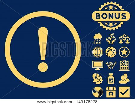 Exclamation Sign icon with bonus symbols. Vector illustration style is flat iconic symbols yellow color blue background.