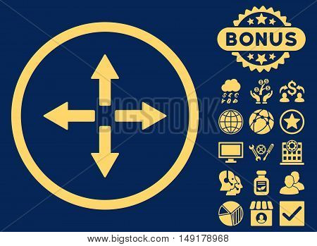 Expand Arrows icon with bonus elements. Vector illustration style is flat iconic symbols yellow color blue background.