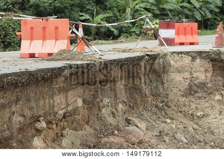 broken road by an earthquake or landslide