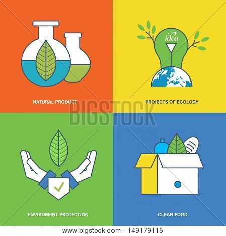 The illustration is devoted a subject of environmental protection, production and consumption of natural pure products. Vector graphics. It is possible to use in banners, advertising, brochures.