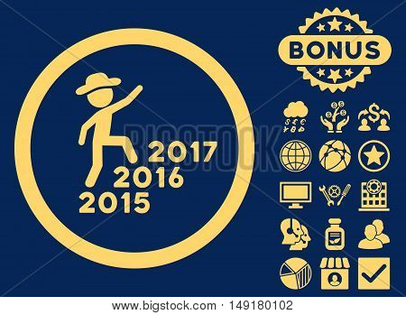 Gentleman Steps Years icon with bonus images. Vector illustration style is flat iconic symbols yellow color blue background.
