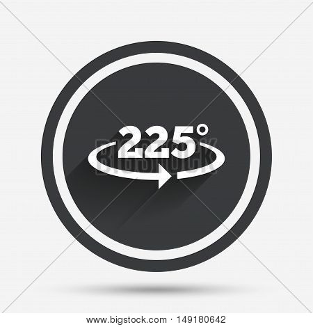 Angle 225 degrees sign icon. Geometry math symbol. Circle flat button with shadow and border. Vector