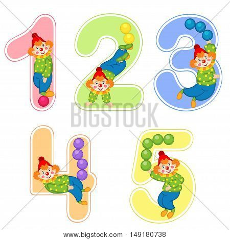 set of numbers with clown juggler from 1 to 5 - vector illustration, eps