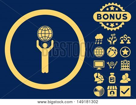 Globalist icon with bonus pictures. Vector illustration style is flat iconic symbols yellow color blue background.