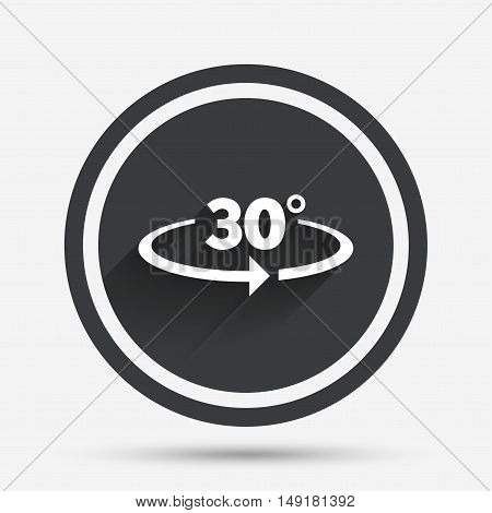 Angle 30 degrees sign icon. Geometry math symbol. Circle flat button with shadow and border. Vector