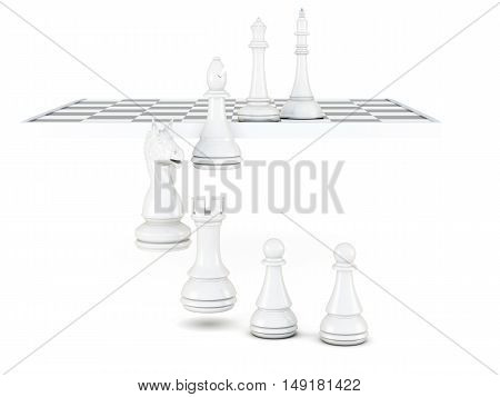 White Chess Pieces Isolated On A White Background. 3D Rendering