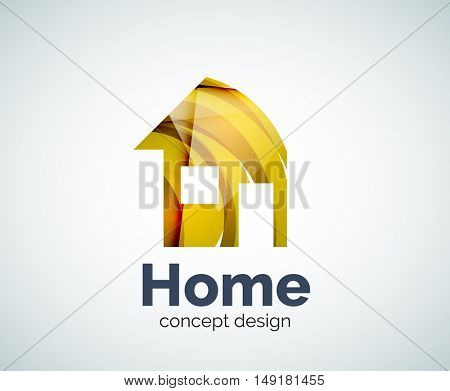 Home real estate logo template, abstract elegant glossy business icon