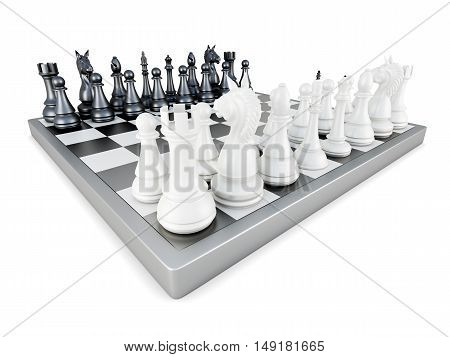 Chess Isolated On White Background. 3D Rendering
