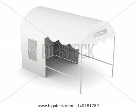 Top View Folding Tent Isolated On White Background. 3D Rendering
