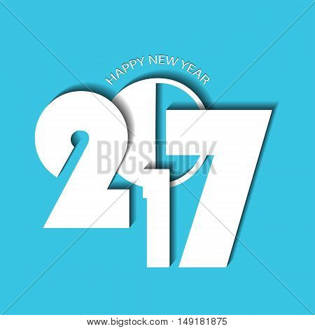 New Year 2017 Concept On Cyan Background. Vector Illustration