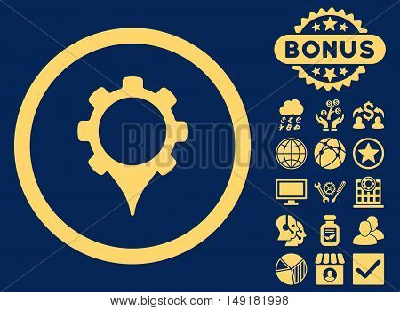 GPS Settings icon with bonus symbols. Vector illustration style is flat iconic symbols yellow color blue background.